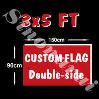 Zaprojektuj niestandardową flagę 150X90cm 3x5FT 100D poliester wszystkie Logo dowolne kolory Banner fani Sport dwustronnie spersonalizowane flagi