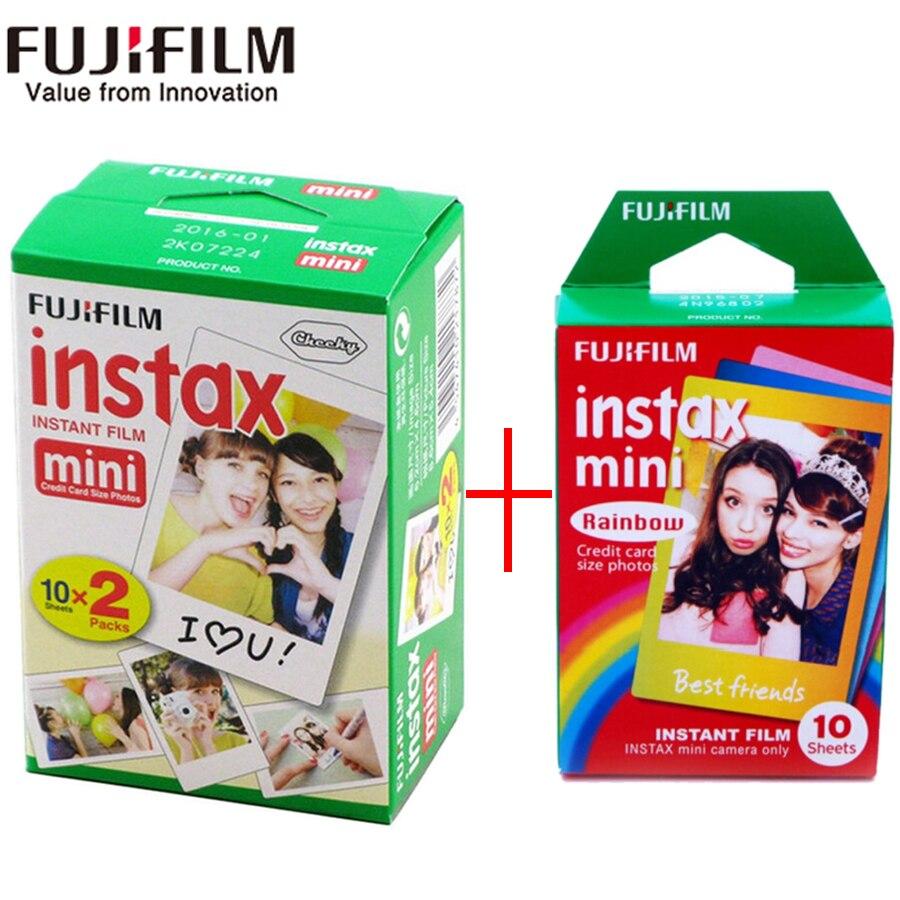 Fujifilm instax mini film 20 sheets white Edge film+10 Sheets Rainbow color mini Film for Instant Camera mini 8 7s 25 50s 90SP1