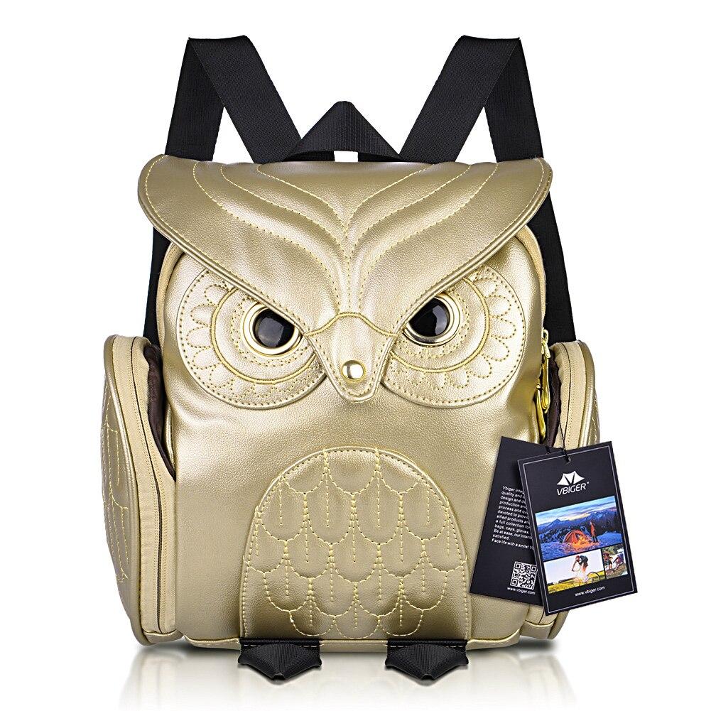 Vbiger Women Backpack Stylish Cool PU Leather Owl Backpack Female Shoulder Bag School Bags Herald Fashion