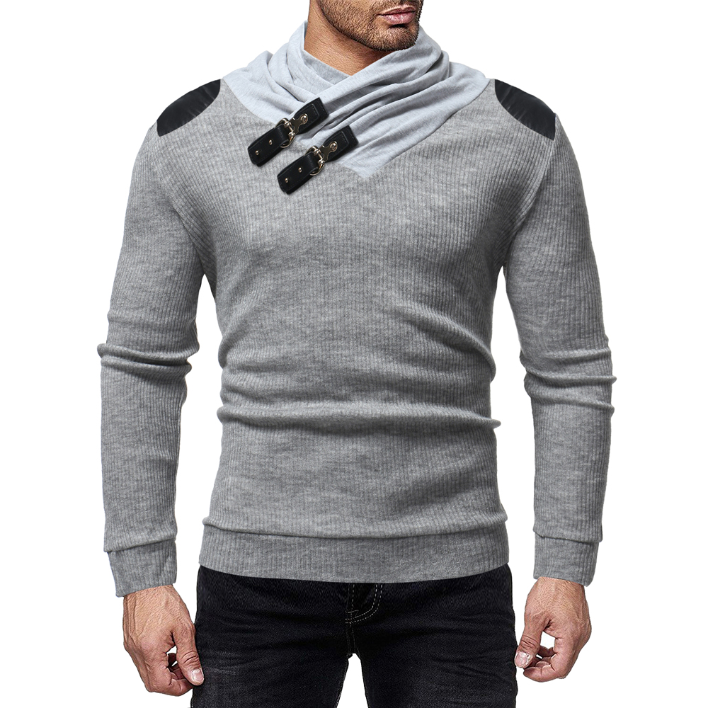 Loldeal Men's Fashion Personality Leather Buckle Neckline Stitching Tide Slim Pullover Solid Warm Knitting Jumper Sweater
