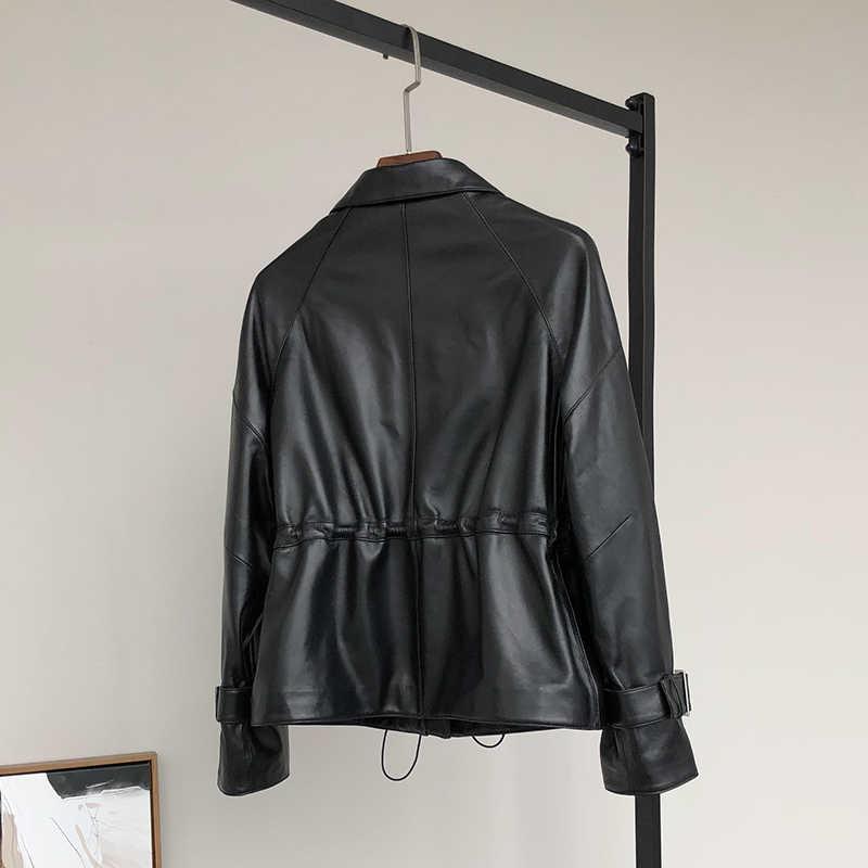Nerazzurri עור מעיל נשים 2019 בתוספת גודל o-צוואר רוכסן מזדמן מעילים ארוך שרוול 5xl 6xl 7xl שחור קפלים קצר pu מעיל