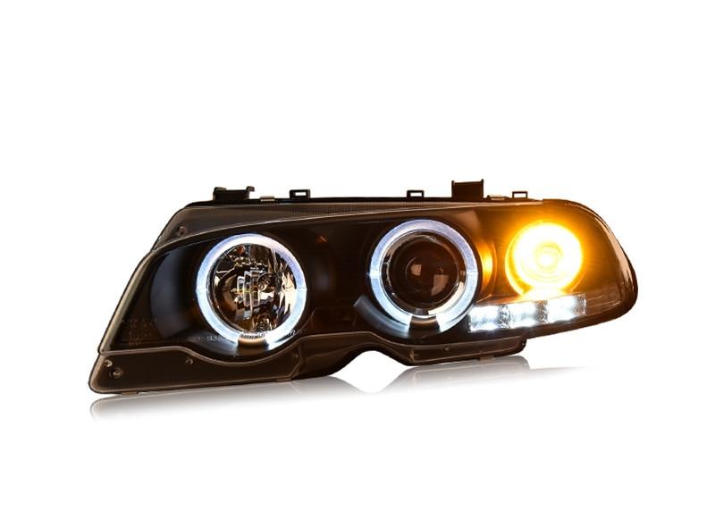 Бесплатная доставка для головной лампы автомобиля фары для BMW Е46 1998-2002 320 328 светодиодные фары DRL H7 спрятал ксенона Ангел глаз 2 двери автомобиля
