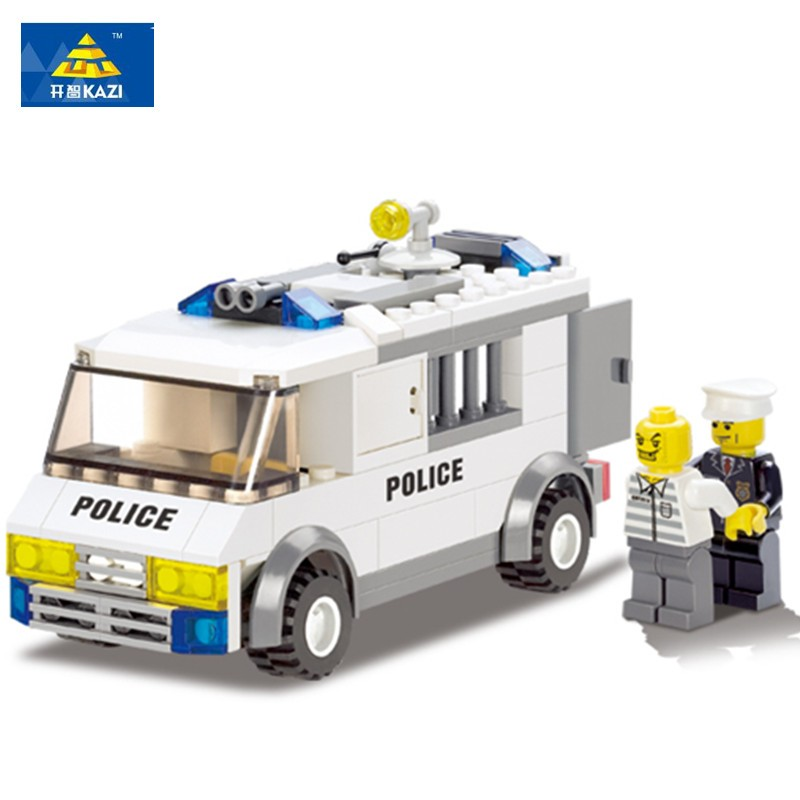 KAZI 135Pcs Police Series Police Custody Van Enlighten Building Blocks Police Model Bricks Playmobil Toys for Children