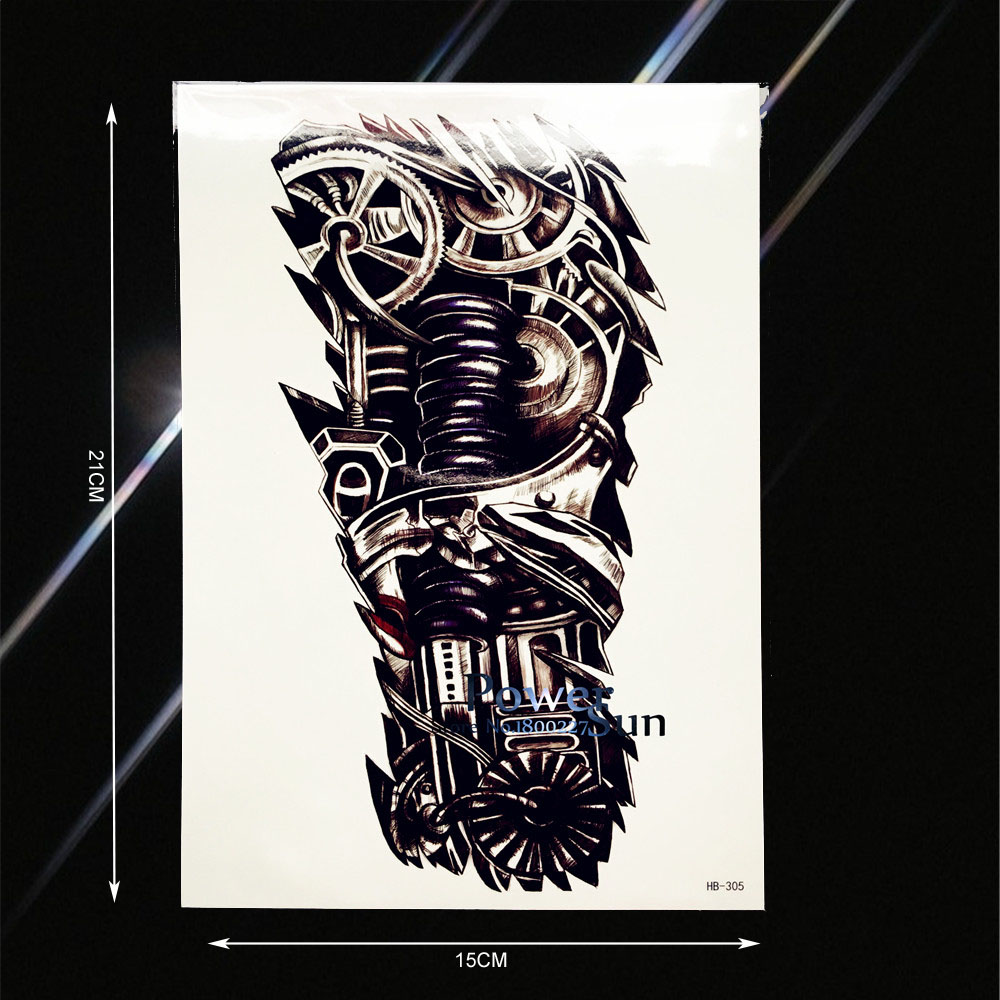 Cool Men Women Body Art Tattoo Sticker Metal Robot Machine Arm Design Waterproof Fake Tattoo Sleeve Temporary Tattoo Leg PHB-305