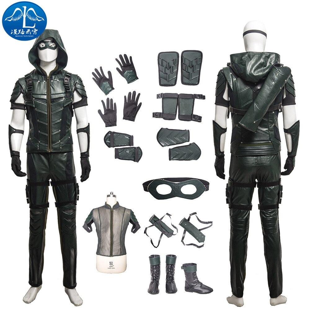 ManLuYunXiao Green Arrow Costume Men Full Set Halloween Costumes For Men Green Arrow Cosplay Costume Custom Made Free Shipping