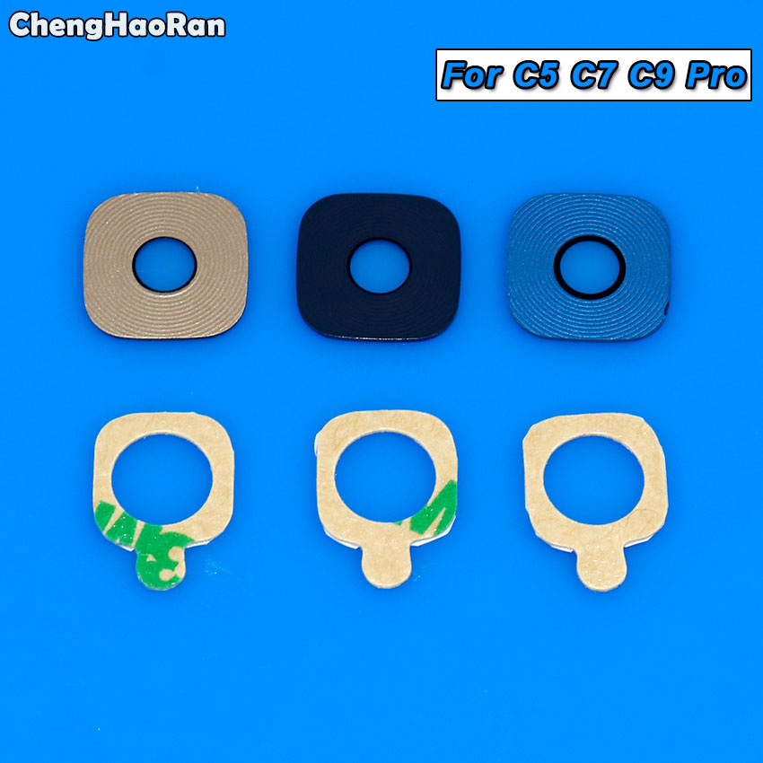ChengHaoRan 2pcs Glass Material Back Rear Camera Lens With Sticker For Samsung Galaxy C5 Pro/C7 Pro/C9 Pro C5010 C7010 C9000