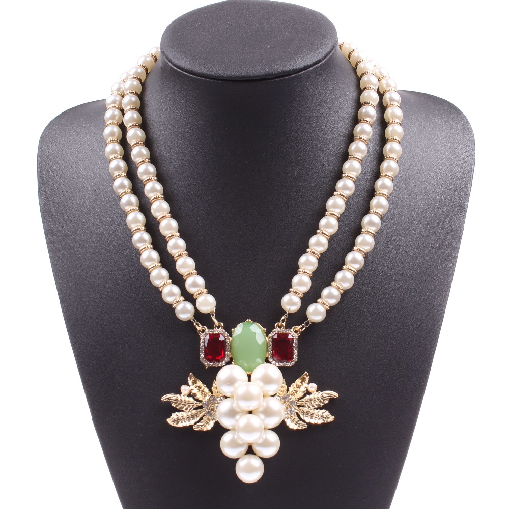 Fashion 2017 New Elegant Party Gold Leaf Cheap Fake Pearl Necklaces Design  For Girls Free Shipping