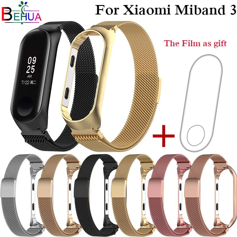 For Xiaomi Mi 3 Watch Ban metal strap Milan strap with unthreaded aluminum strap case frame Mi Band 3 strap magnetic bracelet