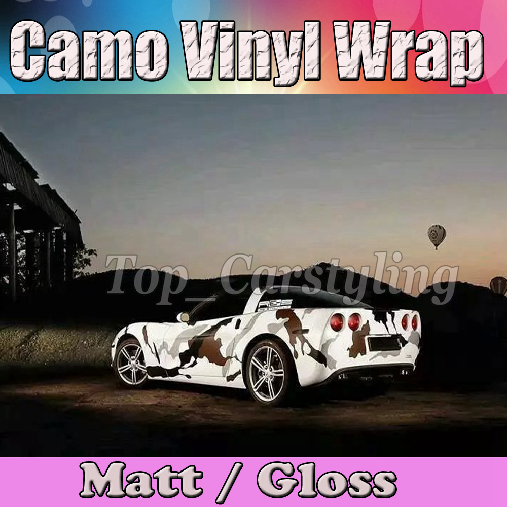 Large Sport Brown black White Camo Car Wrap Film Air Bubble Free Vehicle boat Camouflage Covering styling size 1.52x30m caterham 7 csr