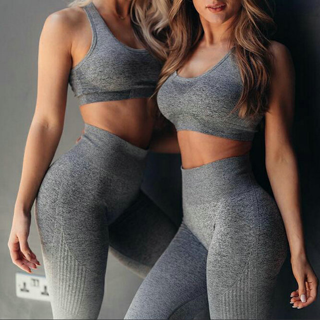 יוגה סט כושר בגדי Ombre חלק חותלות ספורט חזיית אימון ספורט חליפת נשים באנרגיה כושר ספורט פעיל ללבוש גרביונים