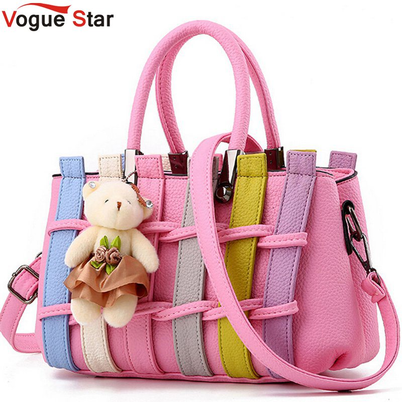 Vogue Star Candy Color Shoulder Bag With Bear Toy Fashion Striped Women Bag Cute Girls Messenger Bag Rainbow color Bag LA265 vogue star new arrival fashion style candy color handbags single shoulder bag female nice bag free shipping bk74