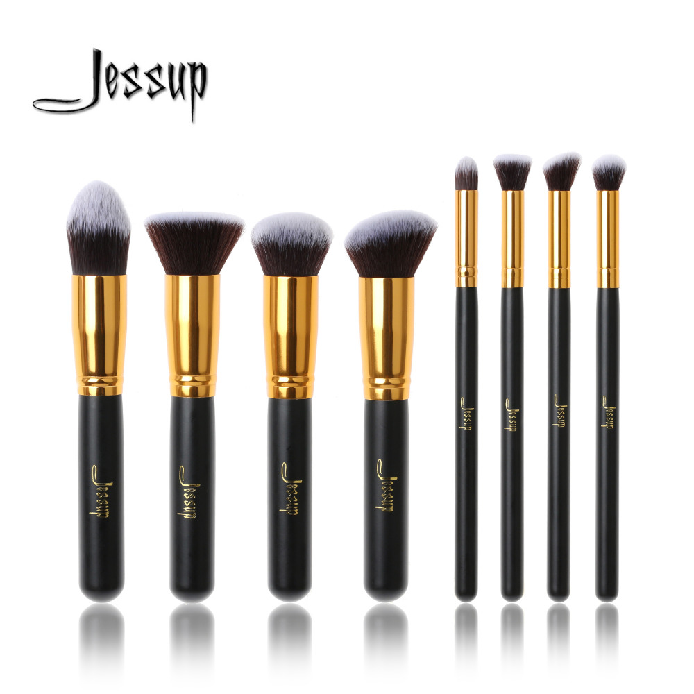 Jessup Brand Professional 8pcs Black/Gold Foundation blush Liquid Kabuki brush Makeup Brushes Tools set Beauty Cosmetics kit professional 10pcs blue silver jessup makeup brushes sets beauty kit foundation kabuki precision brush cosmetics make up tools
