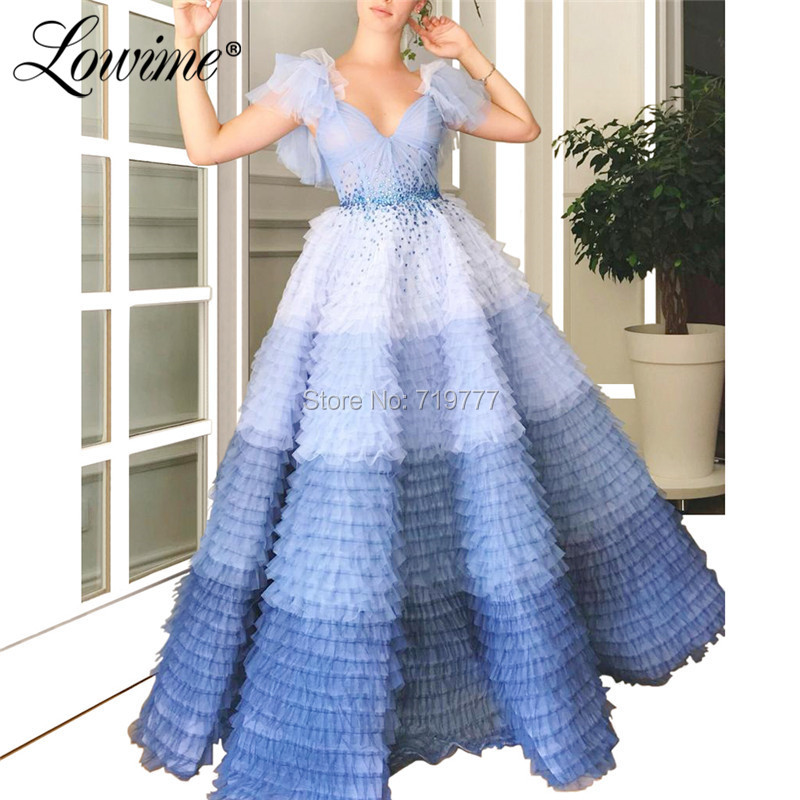Princess Blue Evening Dresses Cap Sleeves Pleats Tulle V Neck Summer Party Dress 2019 Couture Beaded Long A Line Prom Gowns