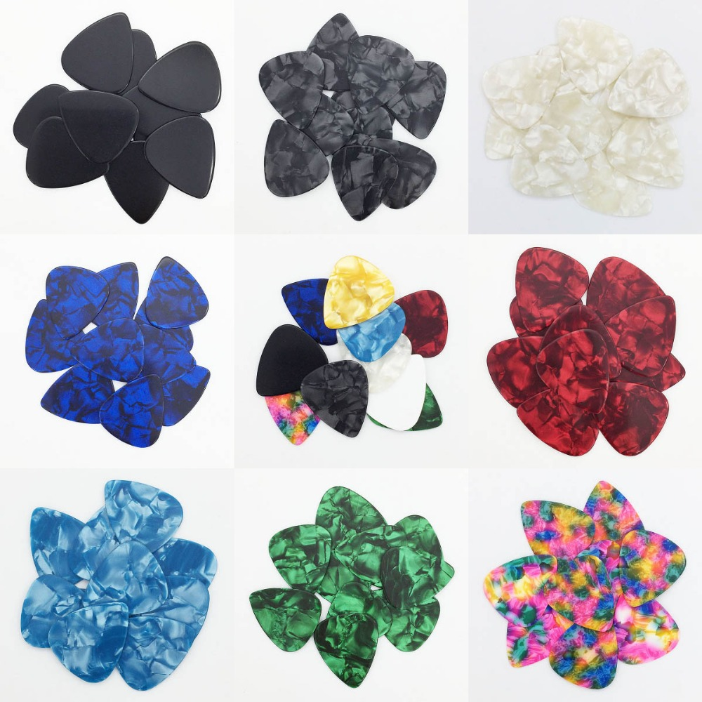 50 Pieces 0.46 Mm Celluloid Guitar Pick Mediator For Acoustic Electric - 10 Colors Custom
