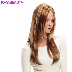 Image 2 - VREUGDE & BEAUTY Haar Vrouwen Lange Golvende Pruik Synthetisch Haar Bruin Blond Mix Hittebestendige Fiber 24 inch Lange