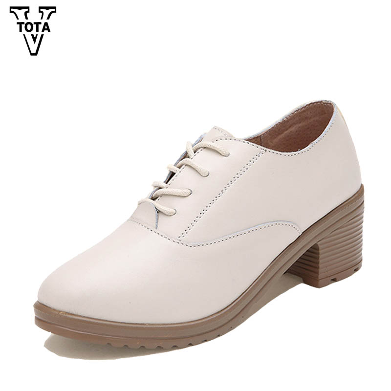 VTOTA Genuine Leather Shoes Woman Fashion Women Pumps Slip-On Ladies Party Shoes Med Heels Loafers Solid Platform Shoes Rubber 2017 shoes women med heels tassel slip on women pumps solid round toe high quality loafers preppy style lady casual shoes 17