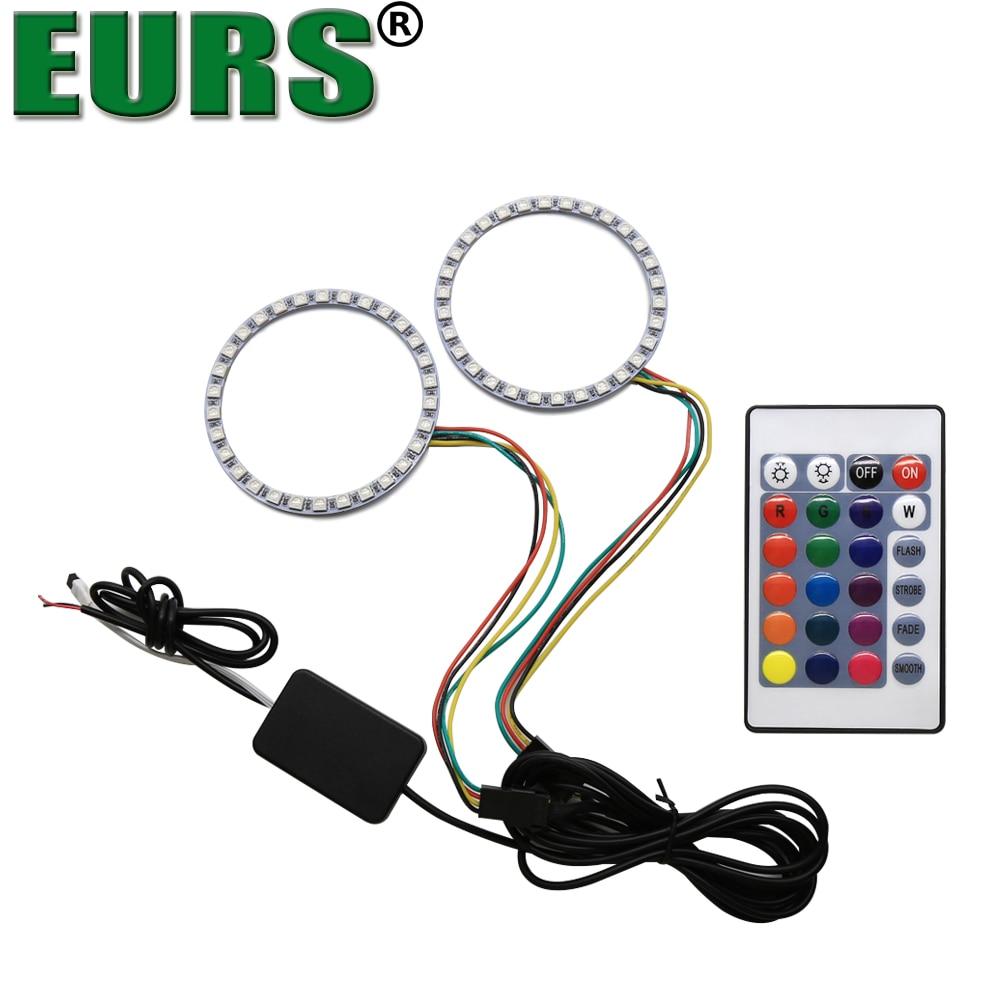 EURS (TM) автомобиль угол глаза свет 5050 светодиодный RGB 5 Вт 1000LM 10 В-14 В 80 мм 90 мм с дистанционный пульт лампа Halo Кольцо комплект фары ...