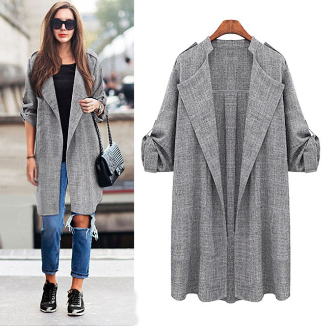 MUQGEW female Irregular Open Front Trench Coat Women's Outwear Long Cloak Overcoat