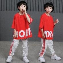 Детские свободные костюмы для бальных танцев, джаза, хип-хоп, соревнований, Красная футболка, топы, штаны, одежда для мальчиков и девочек, костюмы, Одежда для танцев