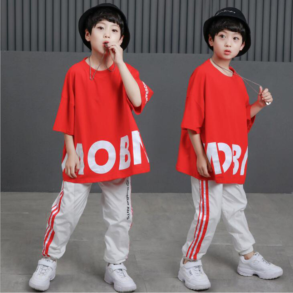 Kids Loose Ballroom Jazz Hip Hop Dance Competition Costumes Red T Shirt Tops Pants Girl Boys Clothing Outfits Dancing Wear Suits