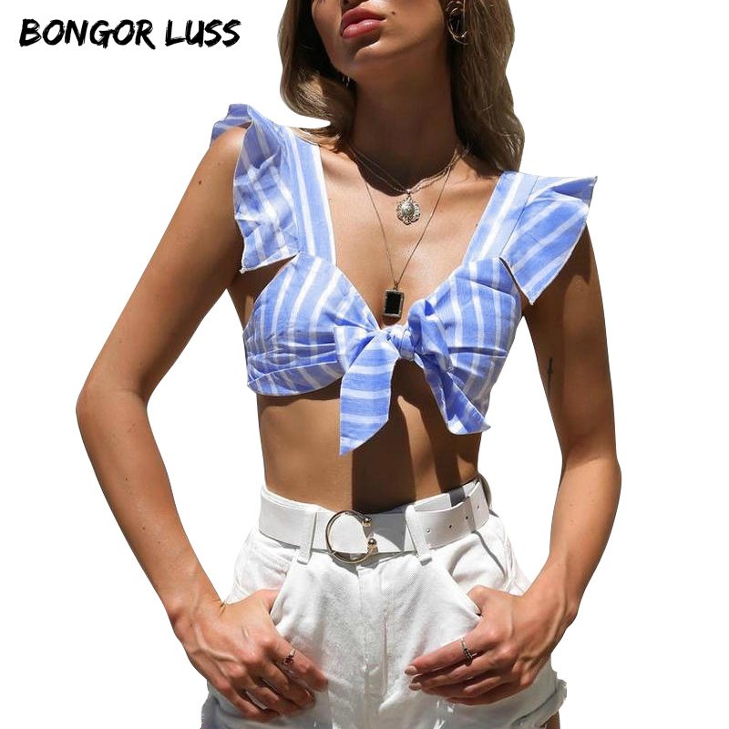 304dc5c0bee BONGOR LUSS Tie Arco Plissado Cinta Colheita Top Curto Listrado Casual Cropped  Tops de Verão Mulheres