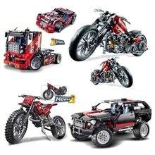 2 In 1 City Vehicle Building Blocks Compatible Legoinglys Technic Truck Racing Motorcycle Car Bricks Sets Children Boys Toys цена