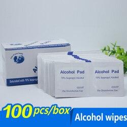 100 Swap pçs/lote Compressa Embebida Em Álcool Prep Pad Wet Wipe para Anti-séptica Limpeza Da Pele Cuidados de Jóias Telefone Celular Limpo
