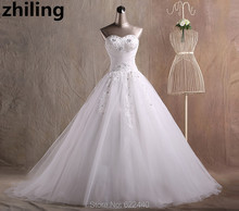 Elegant Tulle With Appliques Wedding Dresses Beaded Sweetheart Bridal Wedding Gown Sweep Train Bride Dress
