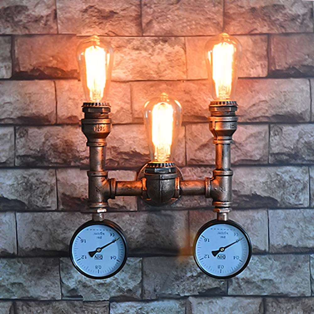 3 Head Nordic American Industrial Wall Lamps Vintage Water Pipe Wall Sconces Bedroom Bedside Light Home