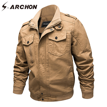 S.ARCHON US Army Air Force Tactical Pilot Jackets Men Spring Cotton Military Bomber Jacket Male Casual Field Flight Jacket Coats