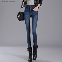 Blue Black High Waisted Jeans Women 2019 Spring Autumn Korean Fashion Single-Breasted Buttons Skinny Jeans Pencil Denim Pants