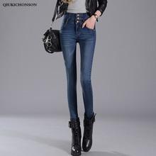 Синие черные джинсы с высокой талией женщины 2019 весна осень корейской моды однобортные пуговицы уз Лучший!