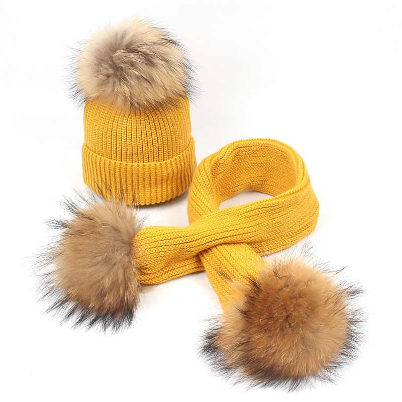 子供冬暖かいニット帽子キャップとスカーフ肥厚ウールのための 6 メートル-6 歳ガールズボーイズ毛皮ポンポン帽子スカーフセット