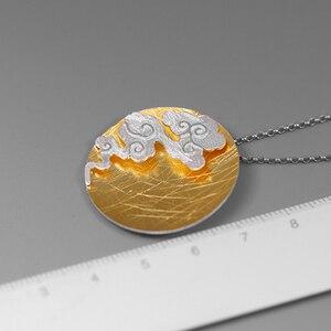 Image 4 - Lotus Vui Thật Nữ Bạc 925 Mỹ Trang Sức Sáng Tạo Thiết Kế Phương Đông Nguyên Tố Vintage Cloud Mặt Dây Chuyền Tròn không có Vòng Cổ