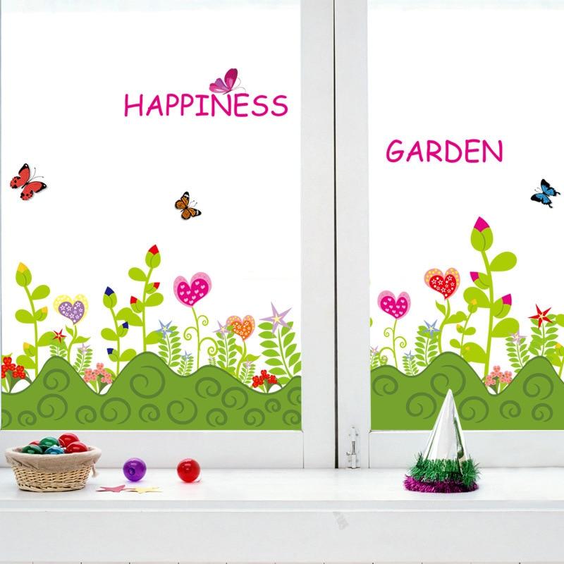 Perlengkapan Rumah Kartun Tanaman Bunga Pinggang Stiker Dinding