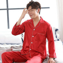 Satin Silk Pajamas Longs For Men Spring And Autumn Sleepwear Male Pajama Set Sof