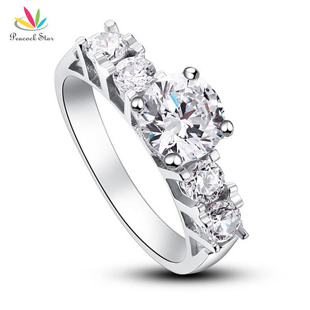 Peacock Star Solid 925 Sterling Silver Wedding Engagement Ring 1.8 Carat Round Cut Simulated Diamond Jewelry CFR8012