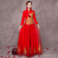 2017 Chinese Traditional Bride Long Cheongsam Dragon Phoenix Embroidery Dress Qipao China Clothing Store Oriental Style Dresses