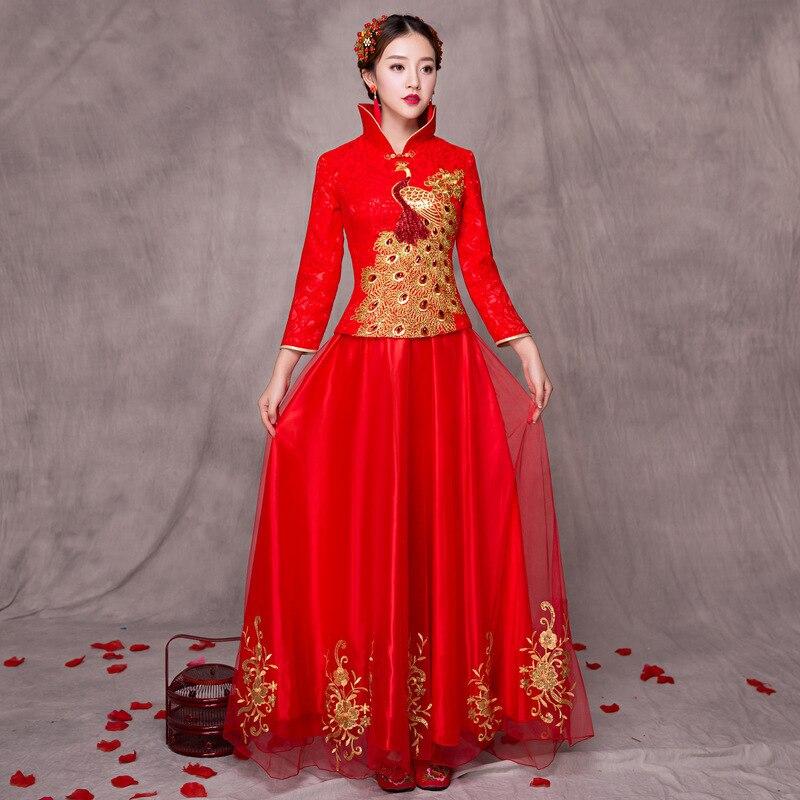 2017 mariée traditionnelle chinoise longue Cheongsam Dragon Phoenix robe de broderie Qipao chine magasin de vêtements robes de Style Oriental