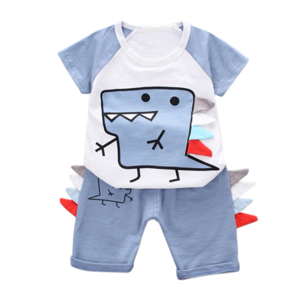 цена на Baby Boy Clothing Sets Cartoon Cotton Summer Newborn Infant Fashion Outerwear Clothes Suit T-shirt+Pant Suit Bebes Boy Cloth