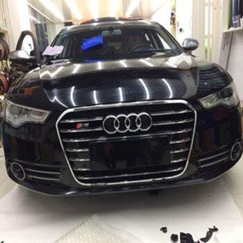 Audi için A6 C7 RS6 S Hattı S6 Tarzı Krom çerçeve siyah ön tampon ızgarası Grille araba aksesuarları 2012 ~ 2015