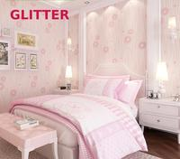 Italian Style Green Plant Material Wallpaper Pastoral Modern Wallpaper 3d Flowers Girl Bedroom Pink Wave Striped