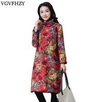 2018 New Women Long Sleeve Turtleneck Midi Dress Floral Print Velvet Basic Kaftan Casual Cotton Linen
