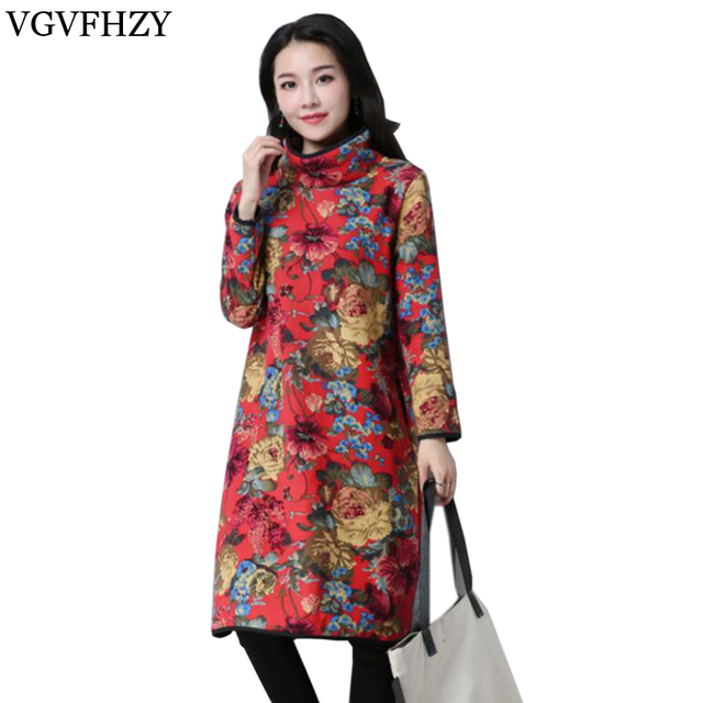 81f2fa13571 2018 New Women Long Sleeve Turtleneck Midi Dress Floral Print Velvet Basic  Kaftan Casual Cotton Linen