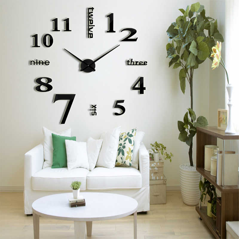 Muhsein 2019 新ファッションビッグサイズ壁時計ミラーステッカー DIY 壁時計モデムリビングルームの装飾壁時計送料無料