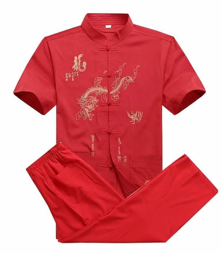 Novo chinês de algodão kung fu terno bordado wu shu uniforme tai chi roupas manga curta camisa + calça m l xl xxl xxxl