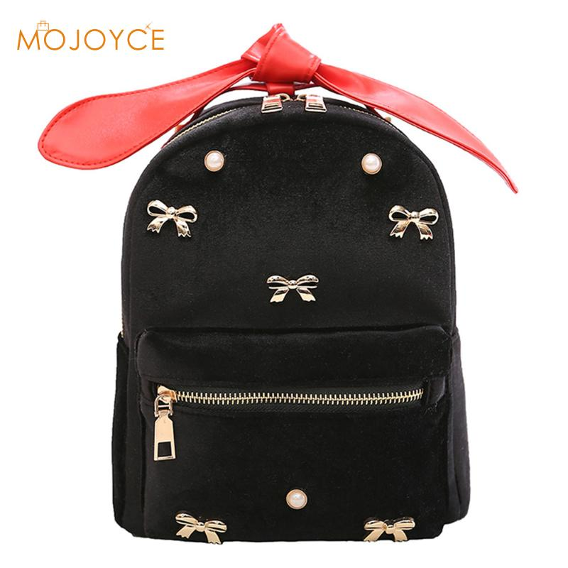 Bowknot Women Backpack Shoulder Bag Backpack Clutch Bag Female Back Pack Velvet Backpacks Rucksack Women Mochila Feminina
