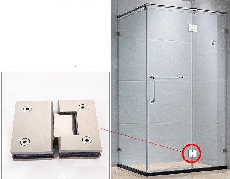 2pcs 180 Degree 304 Stainless Steel Wall Mount Glass Shower Door
