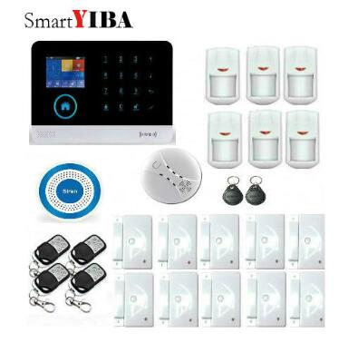 SmartYIBA SMS Wireless WIFI APP Remote Control GSM Alarm System Voice Prompt Security Alarm Kits With Smoke/Glass Break Sensor smartyiba wifi app control infrared pir detector strobe siren smoke sensor gsm alarm kits home burglar security alarm system