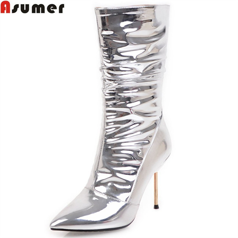 ASUMER silvery women boots fashion new arrive pointed toe zipper ladies boots super high thin heel sexy prom mid calf boots asumer fashion new women boots round toe zipper ladies genuine leather boots square heel keep warm cow leather mid calf boots